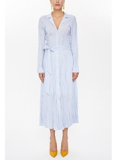 Societa Kraşlı midi elbise 92789 Mavi
